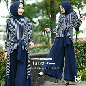Baju Setelan Hijab Celana 3 in 1 Motif Belang Modis Model Terbaru