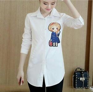 Baju Atasan Blouse Warna Putih Cewek Modis Model Terbaru