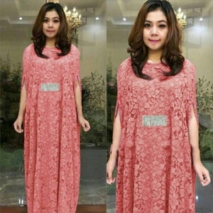 Baju Kaftan Long Dress Bahan Brukat Cantik Model Terbaru