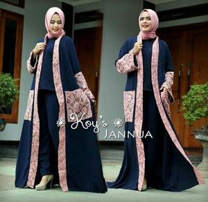 Baju Setelan Hijab Celana Long Cardigan Modis Model Terbaru