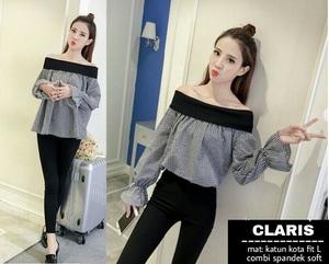 Model Baju Sabrina Lengan Panjang Motif Kotak Terbaru