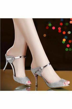 Sandal High Heels Wanita Hak Tinggi Warna Gold dan Silver