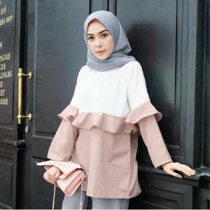 Baju Atasan Wanita Blouse Hijab Lengan Panjang Modis Masa Kini