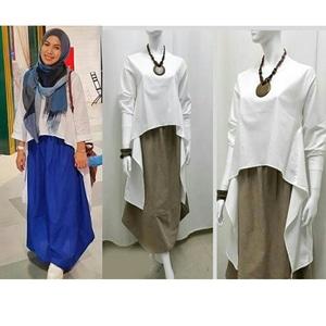 Baju Atasan Wanita Blouse Hijab Mermaid Warna Putih Lengan Panjang