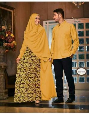 Baju Couple Gamis Syari Kemeja Lengan Panjang Model Terbaru