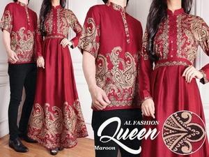 Baju Couple Kemeja Gamis Motif Batik Muslim Model Terbaru