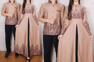 Baju Couple Muslim Long Dress Gamis Kemeja Motif Batik Modern