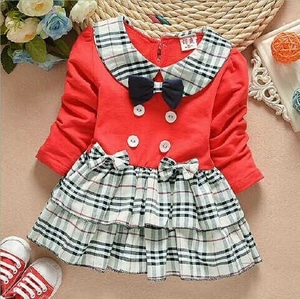 Baju Dress Anak Perempuan Motif Burberry Warna Merah Cantik