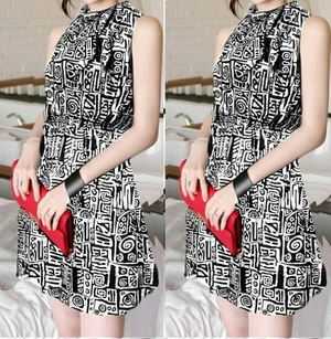Baju Dress Pendek Motif Abstrak Lengan Buntung Modern