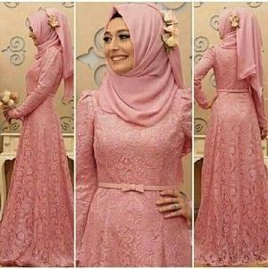 Baju Gamis Long Dress Hijab Bahan Brukat Modern Model Terbaru