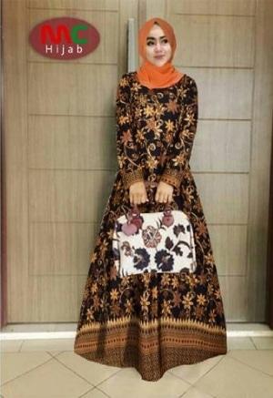 Baju Gamis Setelan Hijab Motif Batik Modern Model Terbaru
