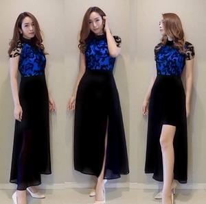 Baju Gaun Pesta Long Dress Panjang Belah Samping Bahan Brukat