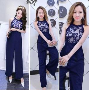 Baju Jumpsuit Panjang Lengan Buntung Lace Cantik Ala Korea