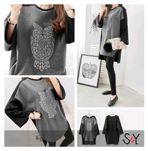 Baju Kaos Oblong Wanita Lengan Panjang Ukuran Jumbo (Big Size)