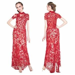 Baju Long Dress Panjang Bahan Brukat Kerah Sanghai Cantik Modern