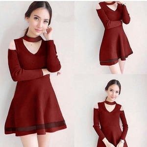 Baju Mini Dress Fashion Wanita Lengan Panjang Choker Bahu Bolong