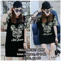 Baju Mini Dress Lengan Pendek Army Mickey Mouse Cantik