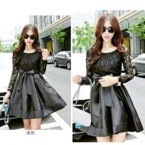 Baju Mini Dress Pendek Brukat Warna Hitam Lengan Panjang