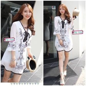 Baju Mini Dress Pendek Fashion Wanita Warna Putih Cantik Modern