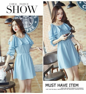 Baju Mini Dress Wanita Dewasa Bahu Bolong Bahan Denim
