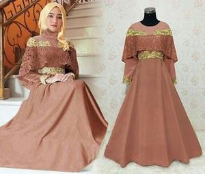 Baju Gamis Long Dress Hijab Sabrina Bahan Brukat Modern