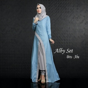Baju Setelan Hijab Long Tunik Celana 3 in 1 Model Terbaru