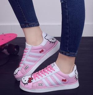 Sepatu Kets Bertali Wanita Gambar Hello Kitty Warna Pink