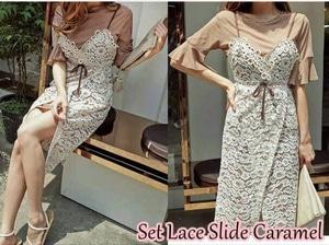 Setelan Baju Dress Lace Wanita Cantik Modern Model Terbaru