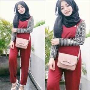 Setelan Baju Jumpsuit Hijab Panjang dan Inner Belang Model Terbaru