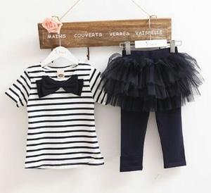 Setelan Baju Kaos dan Celana Kombinasi Tutu Anak Perempuan