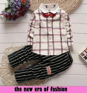 Setelan Baju Kemeja dan Celana Panjang Anak Laki-laki Modern
