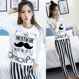 Setelan Baju dan Celana Panjang Motif Salur Belang Modern