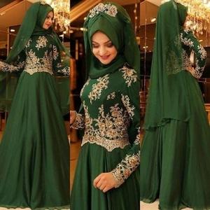 Setelan Hijab Baju Gamis Pesta Bordir Cantik Modern Model Terbaru