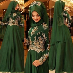 Setelan Hijab Baju Gamis Pesta Bordir Cantik Modern Model