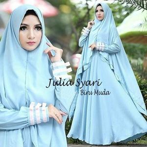 Setelan Hijab Baju Gamis Syari Polos Bahan Waffle Modern