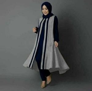 Setelan Hijab Baju Muslim Tunik Celana Modis Modern Model ...