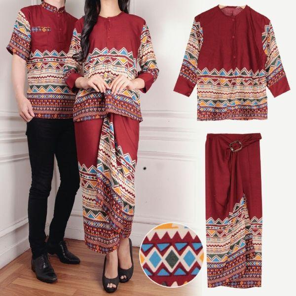 Baju Couple Motif Batik Setelan Rok Lilit Panjang Modern Terbaru