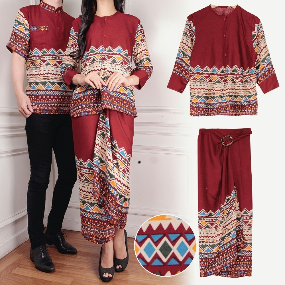 Rok Batik Dan Kemeja: Baju Couple Motif Batik Setelan Rok Lilit Panjang Modern