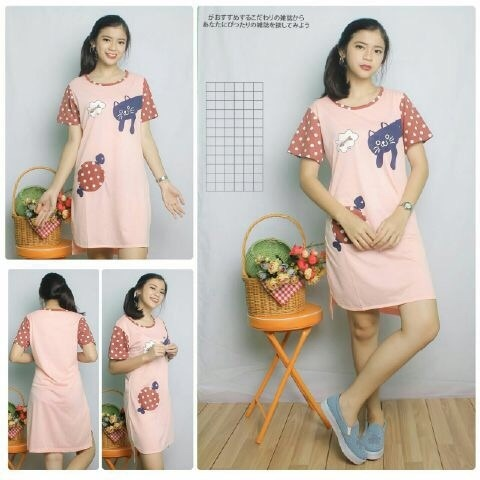 Baju Mini Dress Kaos Lengan Pendek Simple Model Terbaru