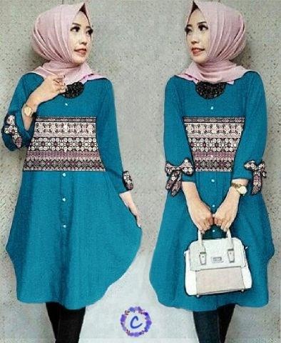 Baju Atasan Wanita Blouse Tunik Hijab Pita Lengan Panjang Modern