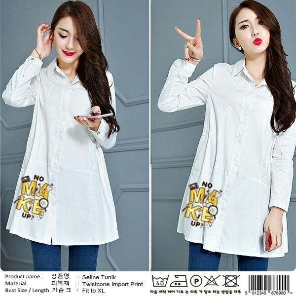 Baju Atasan Wanita Blouse Tunik Hijab Lengan Panjang Warna Putih