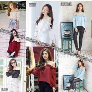 Baju Atasan Wanita Model Sabrina Cantik Modern Terbaru Ala Korea