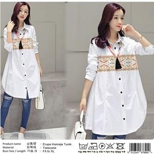 Baju Kemeja Hem Kerja Wanita Warna Putih Lengan Panjang Terbaru