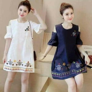 Baju Mini Dress Pendek Bahu Bolong Cantik Model Terbaru Fashion Wanita