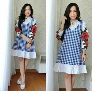 Baju Mini Dress Pendek Fashion Wanita Lengan Panjang Motif Kotak