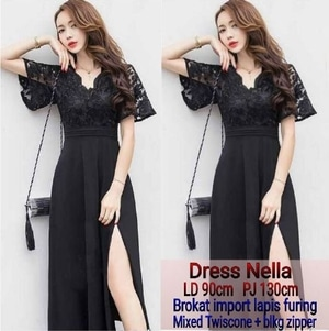Baju Simple Long Dress Maxi Warna Hitam Bahan Brukat Modern