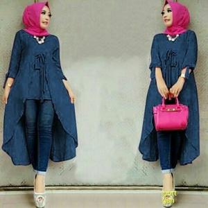 Model Baju Atasan Muslim Wanita Tunik Lengan Panjang Polos