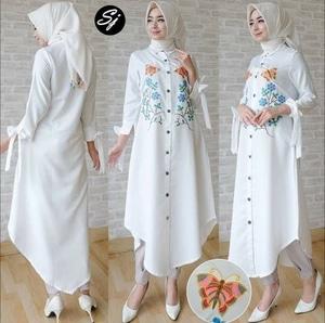 Model Baju Atasan Muslim Wanita Tunik Lengan Panjang Warna Putih