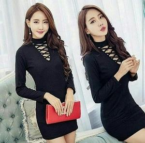 Model Baju Dress Pendek Span Fashion Wanita Lengan Panjang Terbaru