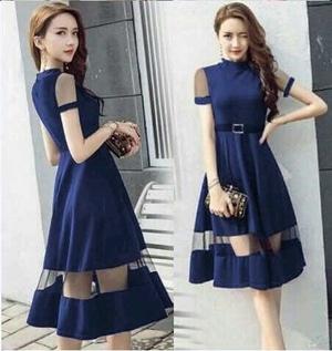 Model Baju Dress Pesta Pendek Kombinasi Tile Fashion Wanita Terbaru